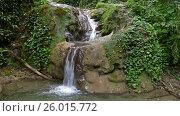 Купить «Waterfall in summer forest of Caucasus Mountains», видеоролик № 26015772, снято 3 апреля 2017 г. (c) Михаил Коханчиков / Фотобанк Лори