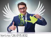 Купить «Businessman in angel investor concept growing future profits», фото № 26015832, снято 18 октября 2018 г. (c) Elnur / Фотобанк Лори