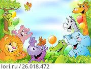 Cartoon animals, cheerful background. Стоковая иллюстрация, иллюстратор Миронова Анастасия / Фотобанк Лори