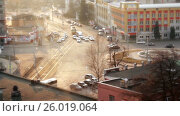 Купить «Just past the part of the city,the view from the roof of a skyscraper», видеоролик № 26019064, снято 13 апреля 2017 г. (c) Роман Будников / Фотобанк Лори