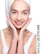 Beautiful girl with towel on her head, фото № 26019448, снято 24 марта 2012 г. (c) Tatjana Romanova / Фотобанк Лори