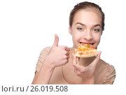 Beautiful girl eating pizza and showing thumb. Стоковое фото, фотограф Tatjana Romanova / Фотобанк Лори