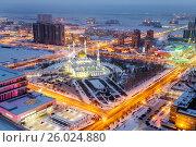 View from above on the evening mosque of Nur Astana in Astana, Kazakhstan. Стоковое фото, фотограф Андрей Орехов / Фотобанк Лори