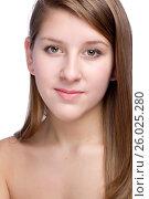 Купить «Close-up portrait of beautiful young woman», фото № 26025280, снято 27 января 2012 г. (c) Tatjana Romanova / Фотобанк Лори