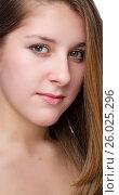 Купить «Close-up portrait of beautiful young woman», фото № 26025296, снято 27 января 2012 г. (c) Tatjana Romanova / Фотобанк Лори