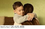 Купить «The happy boy tenderly embraced his mother», видеоролик № 26025888, снято 20 апреля 2017 г. (c) Олег Башкир / Фотобанк Лори