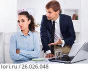 Купить «Sad subordinate woman being accused to making mistake by man colleague», фото № 26026048, снято 14 ноября 2019 г. (c) Яков Филимонов / Фотобанк Лори