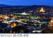 Купить «Night view of center Tbilisi city. Georgia», фото № 26035436, снято 27 сентября 2016 г. (c) Elena Odareeva / Фотобанк Лори