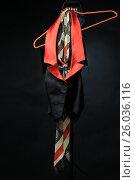 Купить «Черный с красным воротником жилет и полосатый галстук на красных плечиках», фото № 26036116, снято 14 апреля 2017 г. (c) Ротманова Ирина / Фотобанк Лори
