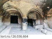 Купить «The refectory in Vardzia cave monastery. Georgia», фото № 26036664, снято 29 сентября 2016 г. (c) Elena Odareeva / Фотобанк Лори