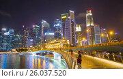 Купить «Singapore downtown buildings night rotation Timelapse», видеоролик № 26037520, снято 23 марта 2019 г. (c) Кирилл Трифонов / Фотобанк Лори