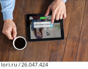 Купить «In the table with the coffe and the tablet with login screen», фото № 26047424, снято 19 августа 2018 г. (c) Wavebreak Media / Фотобанк Лори
