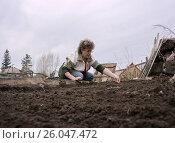 Купить «Женщина сеет семена на грядку», фото № 26047472, снято 24 апреля 2013 г. (c) Светлана Попова / Фотобанк Лори