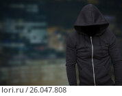 Купить «Anonymous Criminal Man in hood in front of night city», фото № 26047808, снято 16 июля 2020 г. (c) Wavebreak Media / Фотобанк Лори
