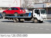 Купить «Автомобиль на эвакуаторе», эксклюзивное фото № 26050680, снято 1 апреля 2017 г. (c) Александр Щепин / Фотобанк Лори