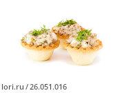 Тарталетки салатом из консервированной рыбы и яиц на белом фоне. Стоковое фото, фотограф Елена Руй / Фотобанк Лори