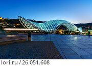Купить «Bridge of Peace at night in Tibilisi, Georgia», фото № 26051608, снято 24 сентября 2016 г. (c) Elena Odareeva / Фотобанк Лори