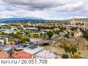 Купить «View of city center Tbilisi. Georgia», фото № 26051708, снято 24 сентября 2016 г. (c) Elena Odareeva / Фотобанк Лори
