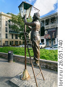 Купить «Statue of lamplighter in Tbilisi, Georgia», фото № 26051740, снято 25 сентября 2016 г. (c) Elena Odareeva / Фотобанк Лори
