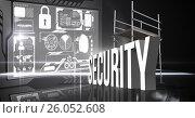 Купить «Composite image of 3d security items», иллюстрация № 26052608 (c) Wavebreak Media / Фотобанк Лори