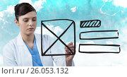 Купить «Doctor with marker and website mock up against sky», фото № 26053132, снято 16 февраля 2019 г. (c) Wavebreak Media / Фотобанк Лори