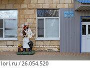 Купить «Доктор-ветеринар Айболит с животными у дверей детской поликлиники города Фролово Волгоградской области», эксклюзивное фото № 26054520, снято 16 апреля 2017 г. (c) A Челмодеев / Фотобанк Лори