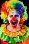 Mad clown on black background. Portrait of crazy woman., фото № 26058320, снято 25 марта 2017 г. (c) Gennadiy Poznyakov / Фотобанк Лори