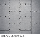 Купить «Metal background with rivets 3d illustration», иллюстрация № 26059672 (c) Андрей Кузьмин / Фотобанк Лори