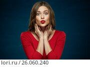 Купить «Red kiss lips face young woman portrait», фото № 26060240, снято 23 сентября 2016 г. (c) sheftsoff / Фотобанк Лори