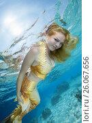 Купить «Golden-haired mermaid swims under the water, Indian Ocean, Maldives», фото № 26067656, снято 24 марта 2017 г. (c) Некрасов Андрей / Фотобанк Лори
