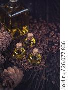 Купить «Oil of cedar nuts», фото № 26077836, снято 23 апреля 2017 г. (c) Jan Jack Russo Media / Фотобанк Лори