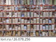 Купить «Складские стеллажи», фото № 26078256, снято 18 ноября 2011 г. (c) Цветков Виталий / Фотобанк Лори