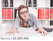 Купить «Уставшая женщина в офисе», фото № 26085444, снято 13 декабря 2019 г. (c) Darkbird77 / Фотобанк Лори