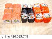 Купить «Японская кухня. Сет роллов», фото № 26085748, снято 21 февраля 2017 г. (c) Глазков Владимир / Фотобанк Лори
