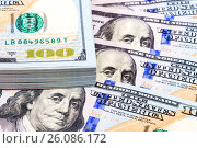 Heap of one hundred american dollar bills close up, фото № 26086172, снято 26 апреля 2017 г. (c) FotograFF / Фотобанк Лори