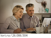 Купить «Mature employees work with documents», фото № 26086504, снято 21 сентября 2019 г. (c) Яков Филимонов / Фотобанк Лори