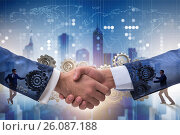 Купить «Handshake concept - business metaphor illustration», фото № 26087188, снято 18 января 2019 г. (c) Elnur / Фотобанк Лори