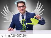 Купить «Businessman in angel investor concept growing future profits», фото № 26087204, снято 18 октября 2018 г. (c) Elnur / Фотобанк Лори