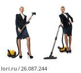 Купить «Businesswoman cleaning with vacuum cleaner on white», фото № 26087244, снято 9 августа 2012 г. (c) Elnur / Фотобанк Лори