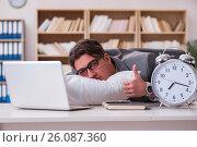 Купить «Tired man sleeping at home having too much work», фото № 26087360, снято 5 января 2017 г. (c) Elnur / Фотобанк Лори