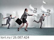 Купить «Businesspeople chasing angel investor funding», фото № 26087424, снято 22 ноября 2018 г. (c) Elnur / Фотобанк Лори