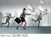 Купить «Businesspeople chasing angel investor funding», фото № 26087424, снято 18 октября 2018 г. (c) Elnur / Фотобанк Лори
