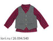 Купить «Plaid shirt with vest, isolate», фото № 26094540, снято 19 января 2017 г. (c) Руслан Кудрин / Фотобанк Лори