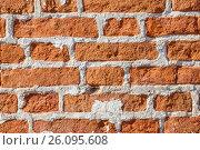 Купить «Old brickwork with broken bricks on lime mortar», фото № 26095608, снято 25 мая 2019 г. (c) Вадим Бочкарев / Фотобанк Лори