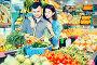 Happy couple examining various vegetables, фото № 26096528, снято 18 марта 2017 г. (c) Яков Филимонов / Фотобанк Лори