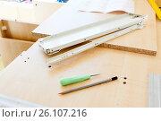 Купить «Furniture fittings and tools for assembling furniture», фото № 26107216, снято 26 марта 2013 г. (c) Анна Гучек / Фотобанк Лори
