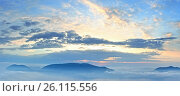 Купить «Sunrise sky view and mountain tops», фото № 26115556, снято 22 сентября 2018 г. (c) Юрий Брыкайло / Фотобанк Лори