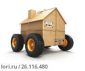 Купить «Cardboard house box with wheels isolated on white background. Moving, logistics and delivery concept.», фото № 26116480, снято 19 июля 2018 г. (c) Maksym Yemelyanov / Фотобанк Лори