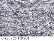 Silver crumpled foil texture background. Стоковое фото, фотограф Владимир Семенчук / Фотобанк Лори