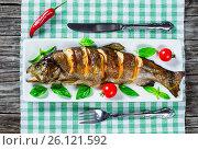 Купить «Delicious healthy grilled seafood fish», фото № 26121592, снято 9 сентября 2015 г. (c) Oksana Zh / Фотобанк Лори